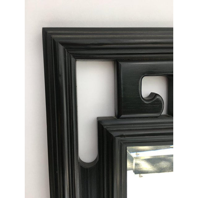 1970s FInal Markdown Large James Mont Style Large Carved Greek Key Wood Mirror For Sale - Image 5 of 10