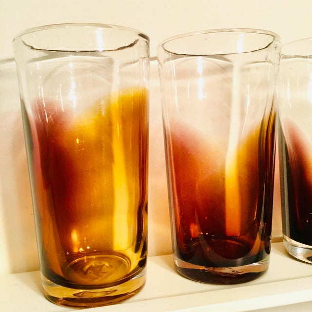 1900s Handblown Golden Bronze Ombre Drinking Glasses - Set of 4 For Sale - Image 5 of 7