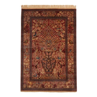 Antique Isfahan Burgundy and Golden-Beige Wool Persian Rug 4′6″ × 6′9″ For Sale