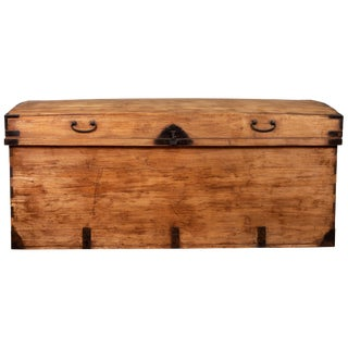 Large Japanese Kimono Storage Chest With Iron Braces and Handles, Circa 1900 For Sale