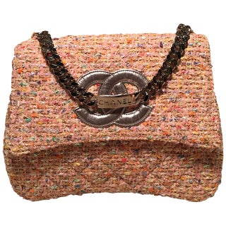 Chanel Vintage Pink Peach Woven Boucle Tweed Classic Flap Handbag For Sale