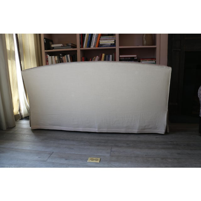 Traditional Lee Industries Taupe Linen Sofa For Sale - Image 3 of 8