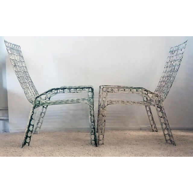 1970s 1970s Folk Art Pressed and Welded Steel Lounge Chairs - a Pair For Sale - Image 5 of 8