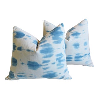 "Boho Chic Malian Blue & White Feather/Down Pillows 24"" X 22"" - Pair For Sale"