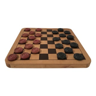 Vintage Clay Checkers & Wooden Checker Board - Set of 25