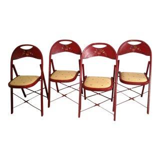 1940s Vintage Bentwood Folding Chairs - Set of 4 For Sale