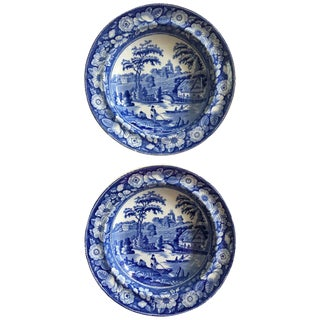 19th Century Blue & White Staffordshire Transferware Wild Rose Soup Plates - A Pair For Sale