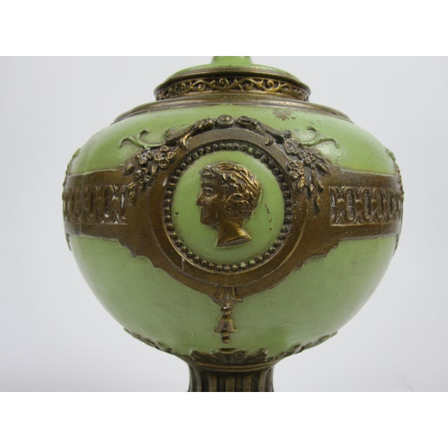 1930s French Green & Gold Accent Lamp For Sale In Los Angeles - Image 6 of 7