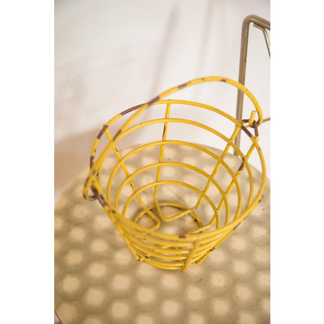 Small Vintage Yellow Egg Basket For Sale - Image 4 of 5