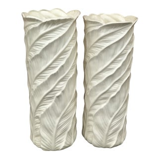 Vintage Tropical Leaf Design Tall White Ceramic Floor Vases - a Pair For Sale