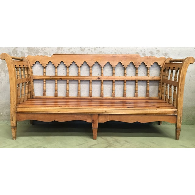 19th Century Large Pine Country Bench or Daybed For Sale - Image 4 of 11