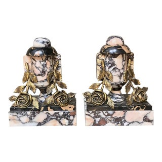 Pair Art Deco Bronze & Marble Cassolettes - Bookends For Sale