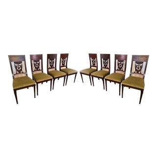 Set of 8 Antique 18th C Style Italian Star Back Dining Chairs For Sale