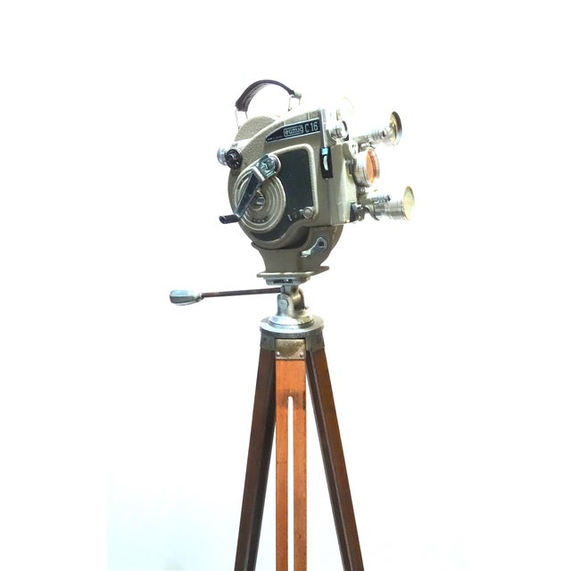 Silver 1956 Austrian Motion Picture Camera on Wood Tripod Vintage Perfect Display For Sale - Image 8 of 12