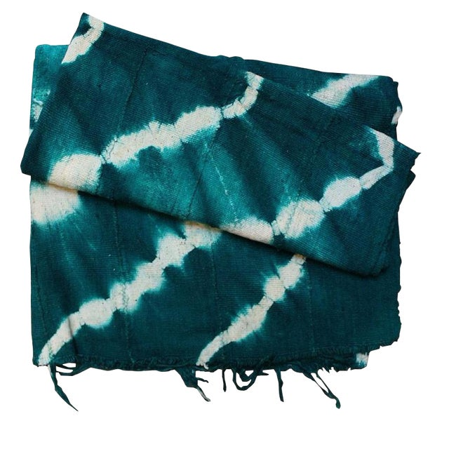 Teal Mud Cloth Textile For Sale
