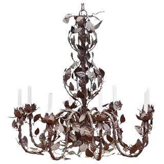 1920s Large-Scale French Tole Chandelier With Vinework For Sale