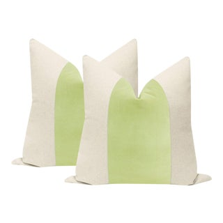 Celadon Velvet Panel & Linen Pillows - a Pair