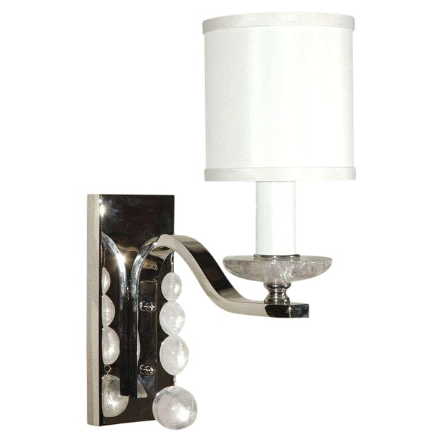 Glass Ball Sconce with Rock Crystal - Image 1 of 5