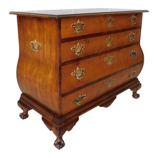 Vintage Chippendale Bombe Style Mahogany Chest 39w For Sale