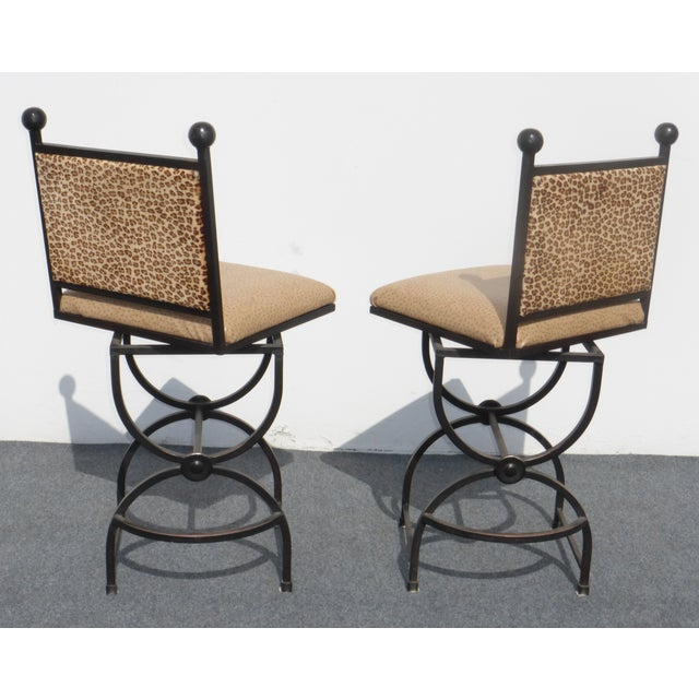 Wrought Iron Swivel Bar Stools - A Pair - Image 5 of 9