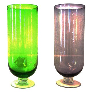 Footed Base Glass Vases - A Pair