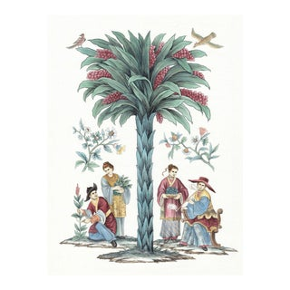 Engel Palm 2 Hand Painted Chinoiserie Panel For Sale