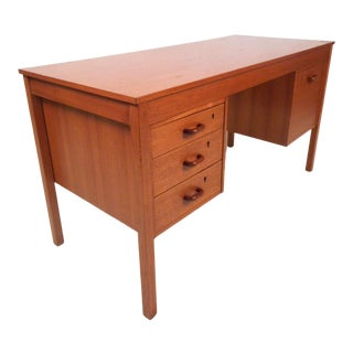 Danish Modern Teak Desk by Domino Mobler With Finished Back For Sale