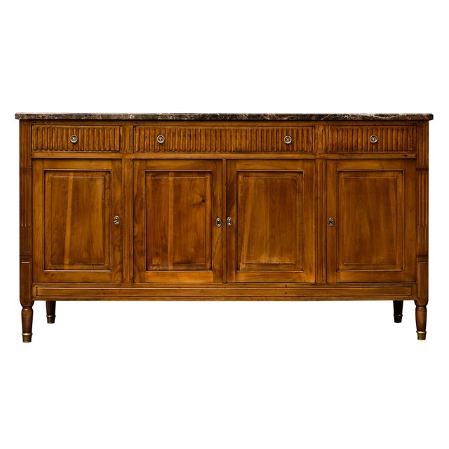 Antique French Louis XVI Style Walnut Buffet For Sale - Image 10 of 10