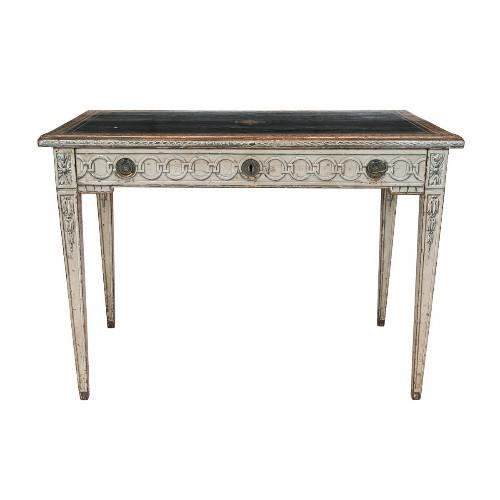 19th Century Neoclassical Trompe l'Oeil Decor Desk and Black Leather Top For Sale - Image 9 of 9