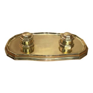 Large Georgian Style Brass Double Inkwell