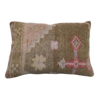 Lumbar Turkish Oushak Rug Pillow, 16'' X 24'' For Sale