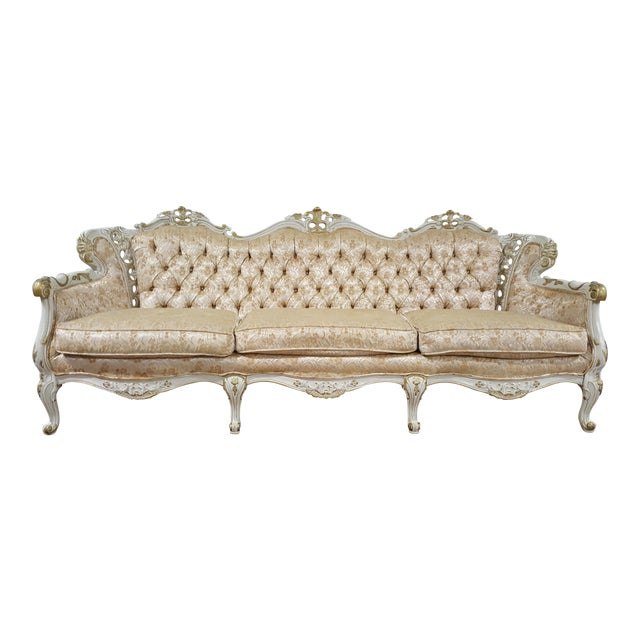 Victorian Antique Gold and Ivory Brocade Tufted Sofa - Image 1 of 3