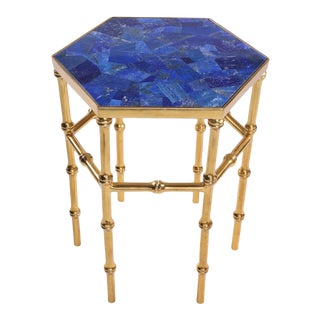 Lapis Lazuli Hexagonal Side Table For Sale