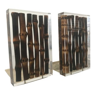 Vintage Mid Century Brass Bamboo Lucite Acrylic Bookends - A Pair For Sale