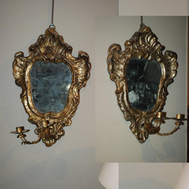 Giltwood Pair of Venetian Gilted Mirrored Sconces For Sale - Image 7 of 7