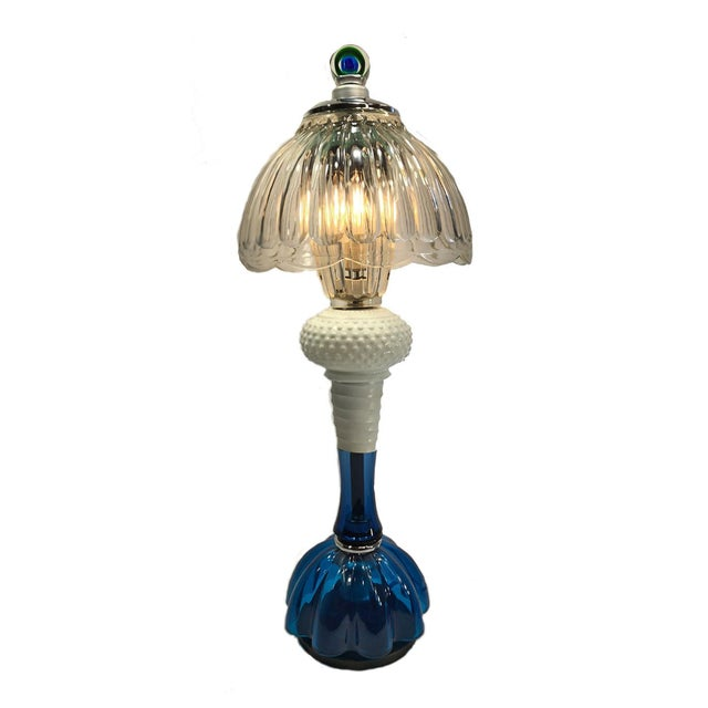 Ice Cobalt Blue and Crystal Clear Glass Handcrafted Table Lamp For Sale - Image 9 of 9