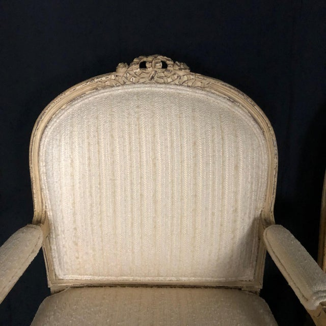 Louis XIV Neoclassical Style Cream Painted French Bergere Armchairs -A Pair For Sale - Image 10 of 13