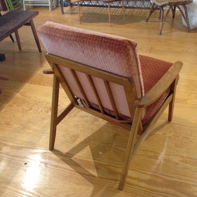 Vintage Mid-Century Oak & Burnt Orange Arm Chair - Image 4 of 9