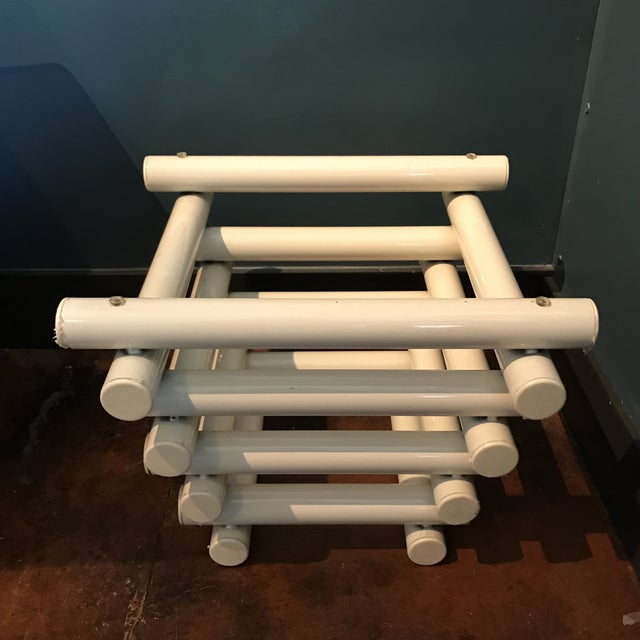 White Tubular Metal Side Table - Image 3 of 7