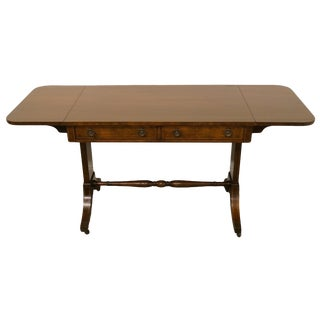 "20th Century Traditional Baker Furniture Solid Mahogany 38"" Drop Leaf Desk/Vanity/Entry Table For Sale"