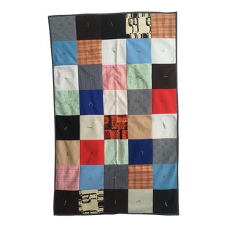 Vintage 1960's Hand-Sewn Folk Art Color Block Throw Blanket Baby Quilt For Sale