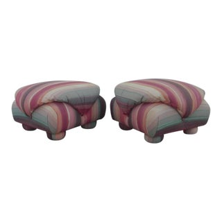 1980s Vintage Upholstered Poofs- A Pair For Sale