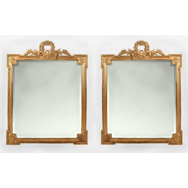Early 20th Century Matching Pair of Giltwood Hanging Beveled Mirrors For Sale - Image 11 of 11