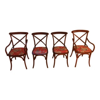 Vintage Chinoiserie Upholstery Bistro Chairs - Set of 4 For Sale