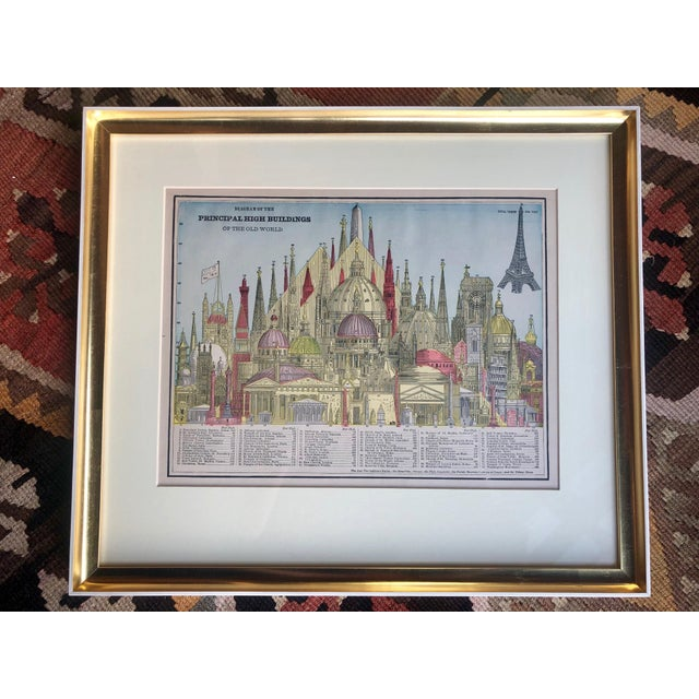 Gold Late 19th Century Antique George F. Cram Principal High Buildings Diagram Custom Framed Art For Sale - Image 8 of 8