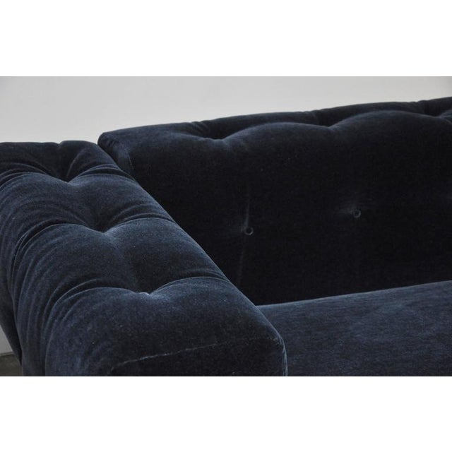 Milo Baughman Chrome Case Sofa in Blue Mohair For Sale In Chicago - Image 6 of 7