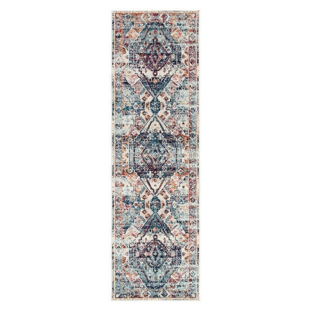 "Textile Jaipur Living Farra Indoor Outdoor Medallion Multicolor Blue Runner Rug 2'6""X8' For Sale - Image 7 of 7"