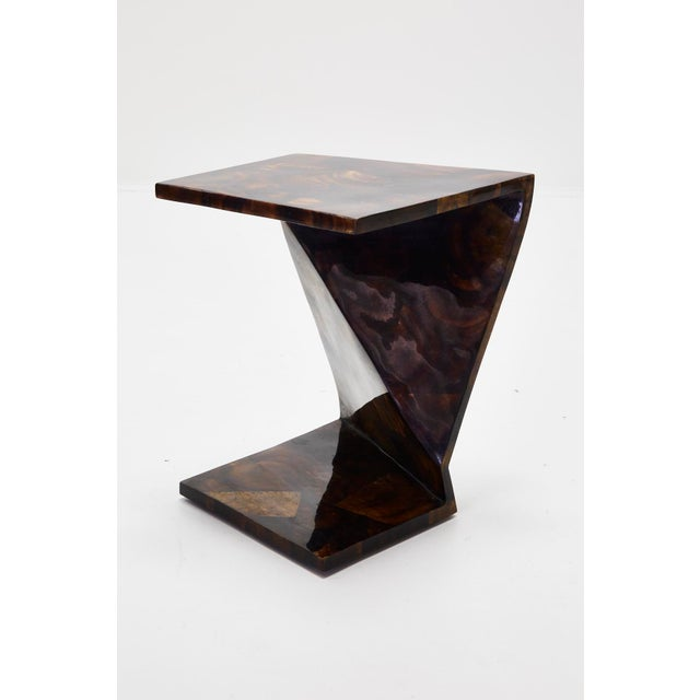 Maitland - Smith 1990s Vintage Postmodern Inlaid Seashell Zig Zag Sides or Coffee Table - a Pair For Sale - Image 4 of 11
