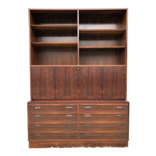 1960s Danish Modern Rosewood Shelving Unit With Drop Down Desk
