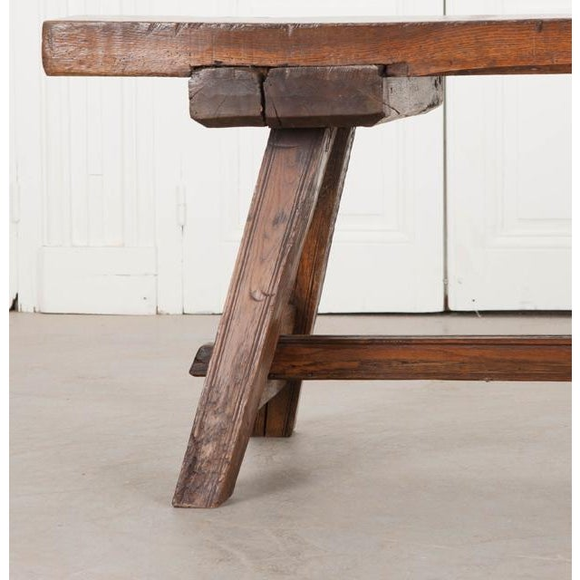 English Early 19th Century Thick Oak Bench For Sale - Image 10 of 12